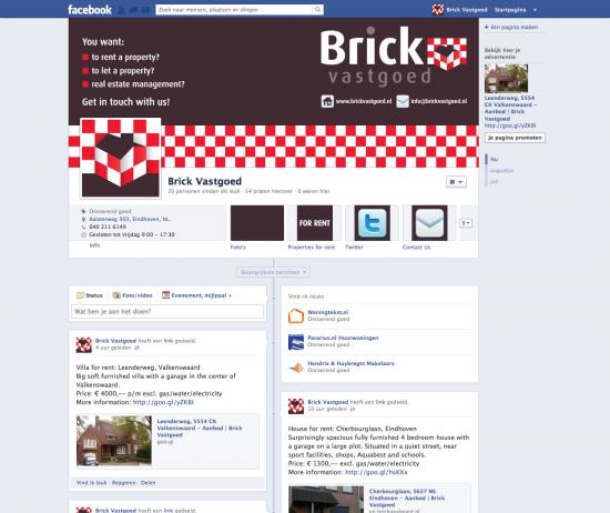 Facebook pagina Brick Vastgoed