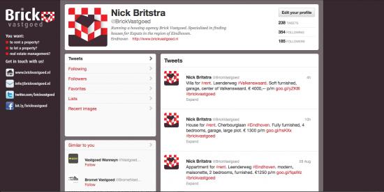 Twitter pagina Brick Vastgoed